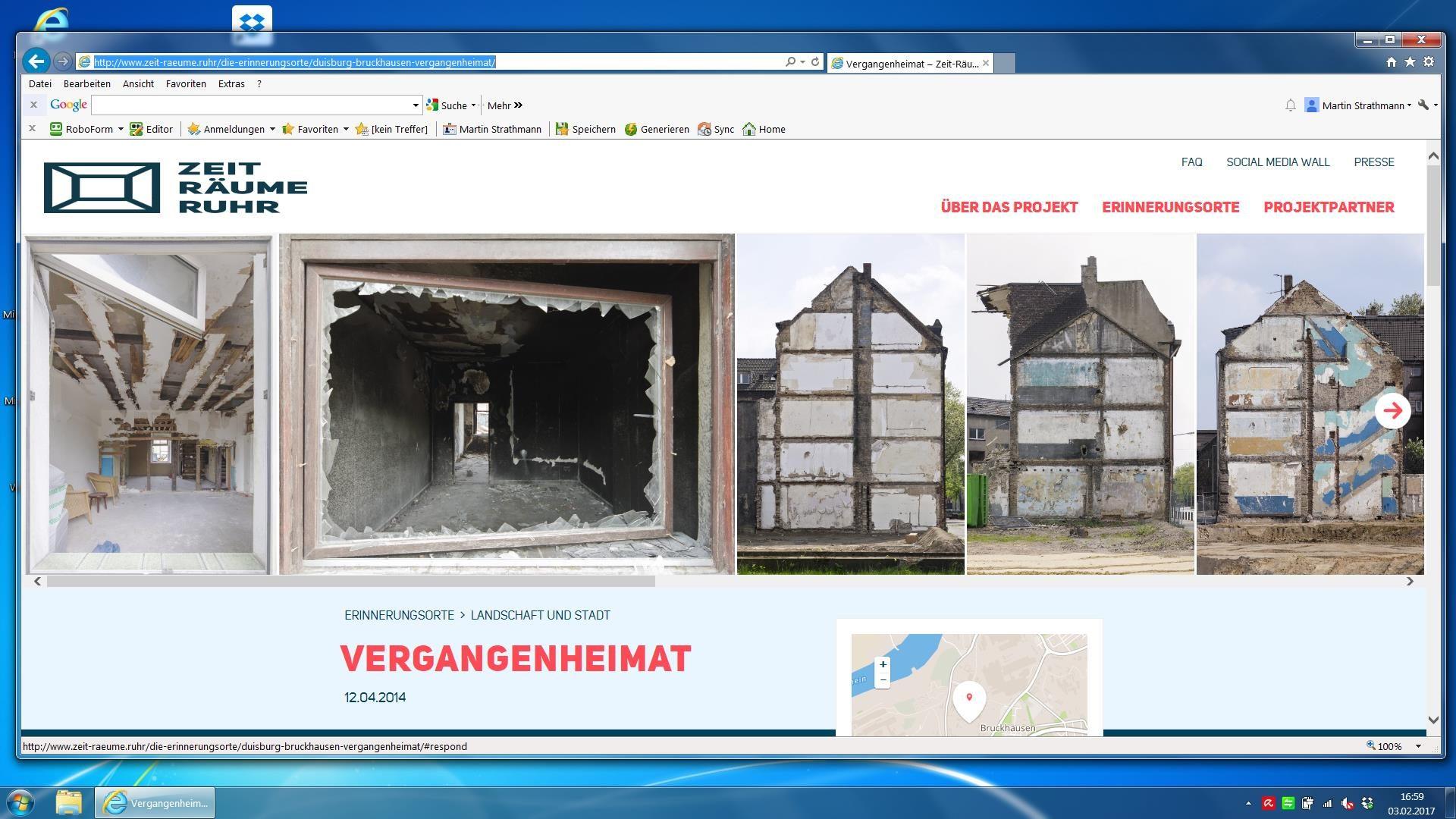 Screenshot meines Beitrags Vergangenheimat auf der Website ZEIT-RÄUME RUHR