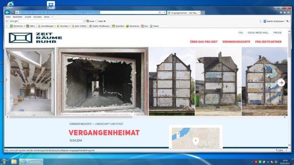 Scrrenshot meines Beitrags Vergangenheimat auf der Website ZEIT-RÄUME RUHR